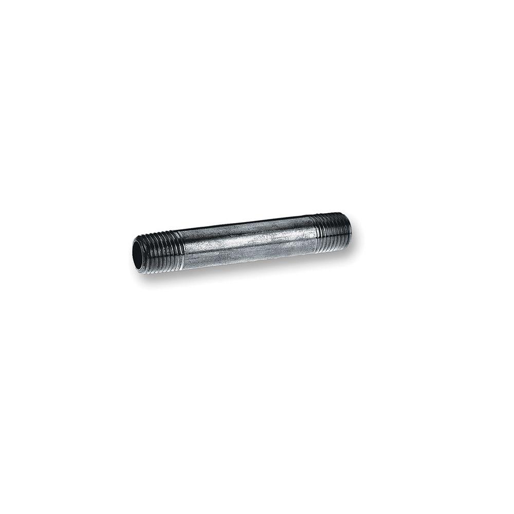 Aqua-Dynamic Black Steel Pipe Nipple 1/2 Inch x 6 Inch