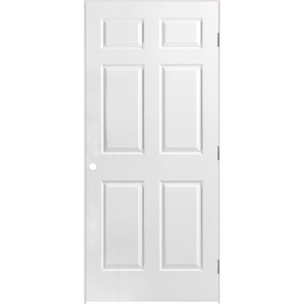 Masonite 36-inch x 80-inch Lefthand 6-Panel Textured Prehung Interior Door