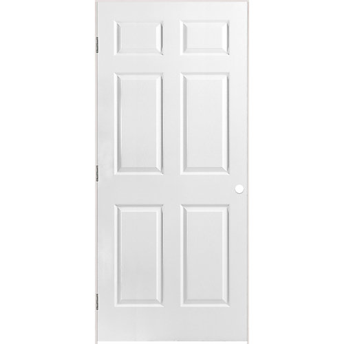 36-inch x 80-inch Righthand 6-Panel Textured Prehung Interior Door