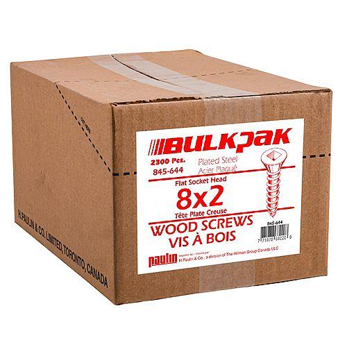 Paulin #8 x 2-inch Flat Head Square Drive Wood Screws - Zinc Plated - 2300pcs