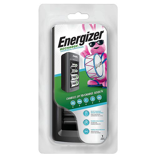 Chargeur universel Energizer Recharge pour piles rechargeables NiMH AA, AAA, C, D et 9V