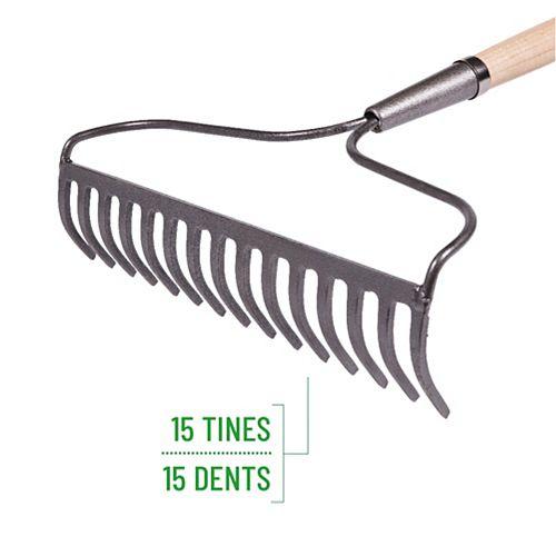Garant Garden Care Bow Rake, 15 Tines, 60-inch Hardwood Handle