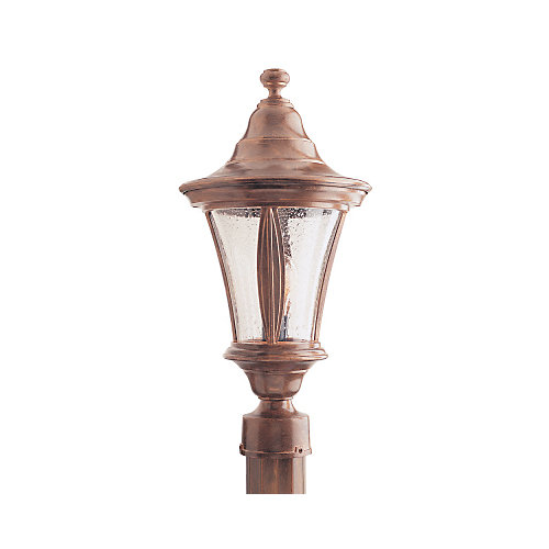 Orion Series, Antique Copper with Clear Bubble Globe, Post Top Mount