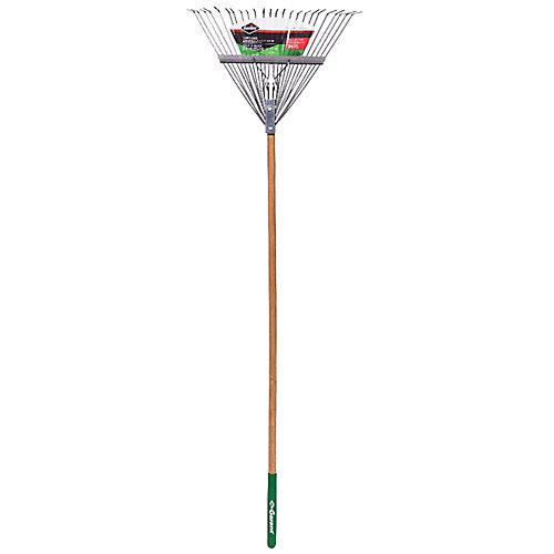 Garden Care 24-inch Lawn Rake, Steel Tines, Hardwood Handle