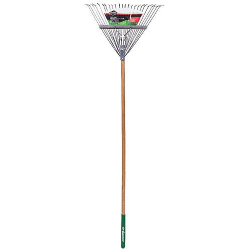 Garden Care 24-inch Lawn Rake, Steel Tines, Hardwood Handle