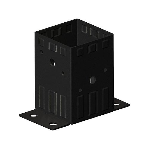 4-inch x 4-inch Heavy-Duty Steel Bolt Down Post Support in Black