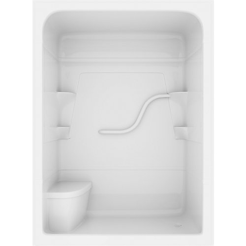 Madison 36-inch D x 36-inch W x 80-inch H Rectangle 3-Piece Acrylique douche Stall avec siège en blanc