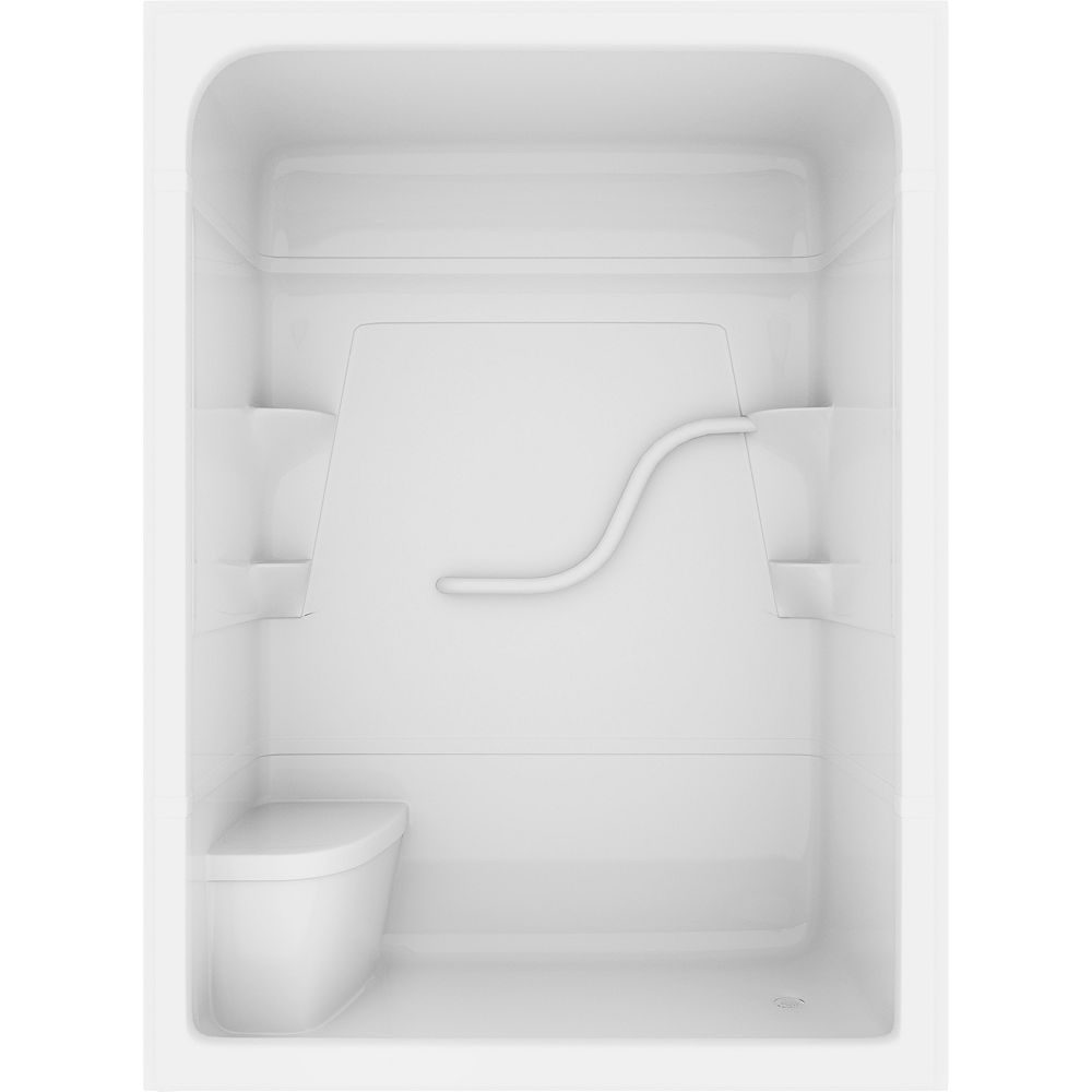 Mirolin Madison 36-inch D x 36-inch W x 80-inch H Rectangle 3-Piece Acrylic Shower Stall with Seat in White
