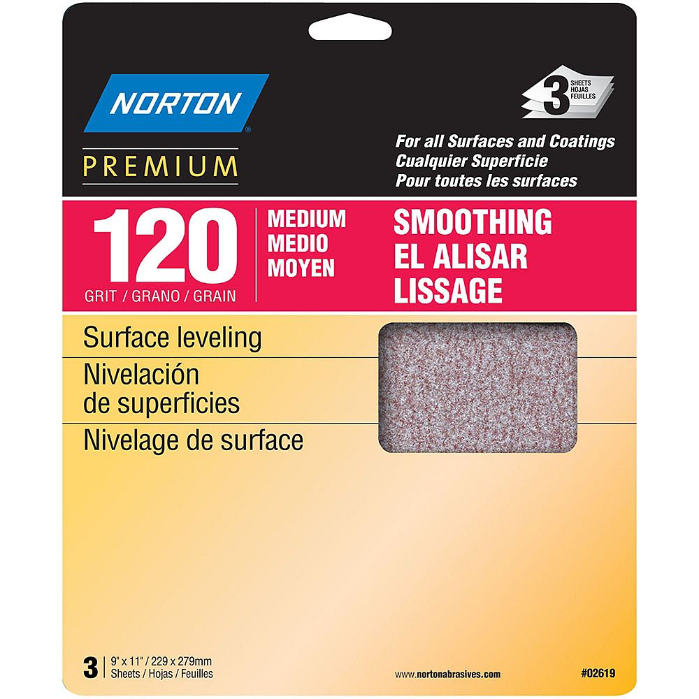 Norton Feuille de ponçage Premium  9 piX11 pi Grain Moyen -120 Emb de 3