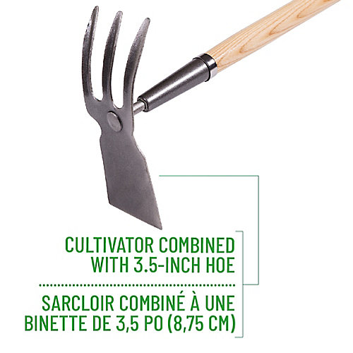 Garden Care Cultivator/Hoe Combo, Hardwood Handle