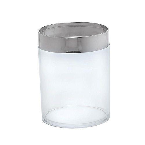 Poubelle, chrome poli/verre translucide