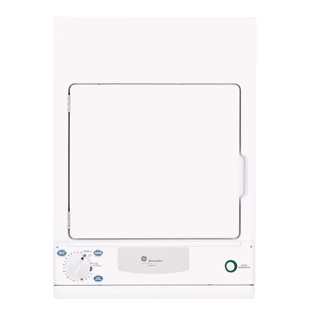 GE Spacemaker 3.6 cu. ft.Stationary Compact and Stackable Electric Dryer in White