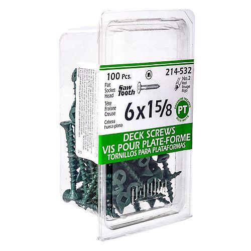 #6 x 1-5/8-inch Square Drive Flat Head Deck Screw UNC in Green - 100pcs