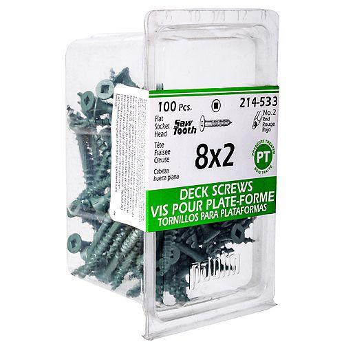 #8 x 2-inch Square Drive Flat Head Deck Screw UNC in Green - 100pcs