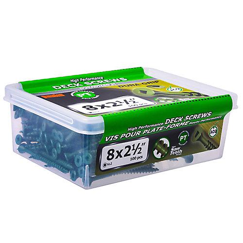 """#8 x 2-1/2"""" Vis à tête carrée à tête plate UNC en vert - 100pcs"""