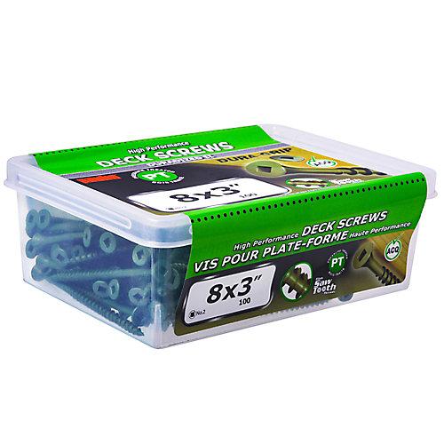 #Vis de pont à tête carrée à tête plate UNC de 8 x 3 pouces en vert - 100 pièces