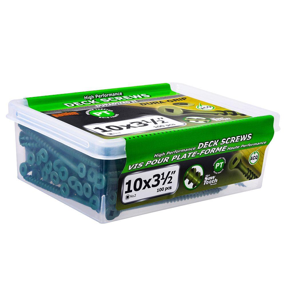 Paulin #10 x 3-1/2-inch Square Drive Flat Head Deck Screw UNC in Green - 100pcs