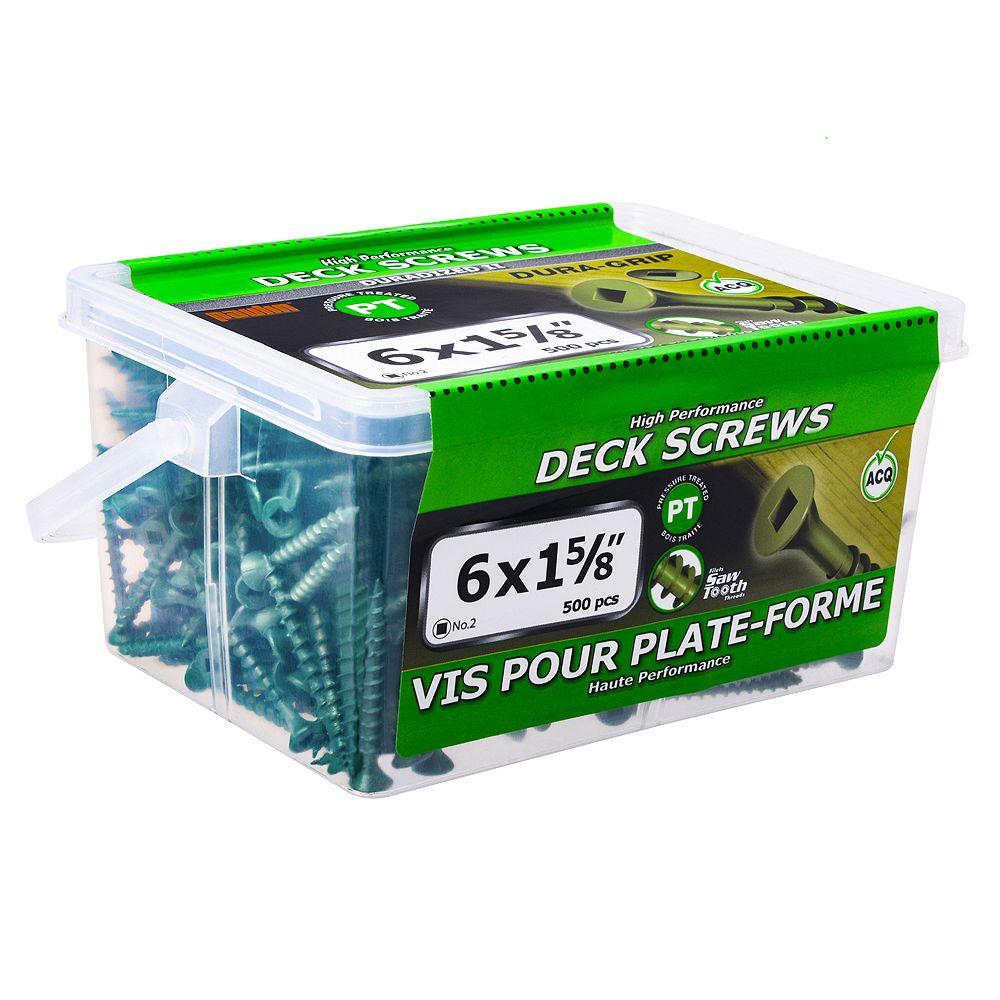 Paulin #6 x 1-5/8 pouce carré à tête plate à tête carrée Vis de pont UNC en vert - 500pcs