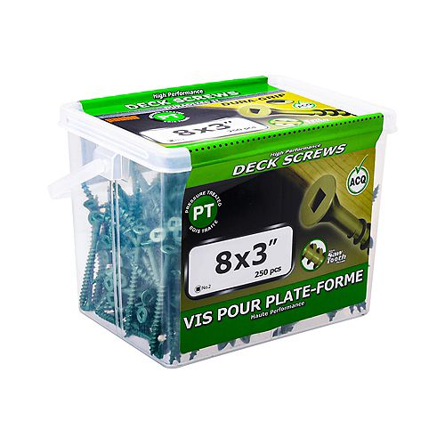 #8 x 3-inch Square Drive Flat Head Deck Screw UNC in Green - 250pcs