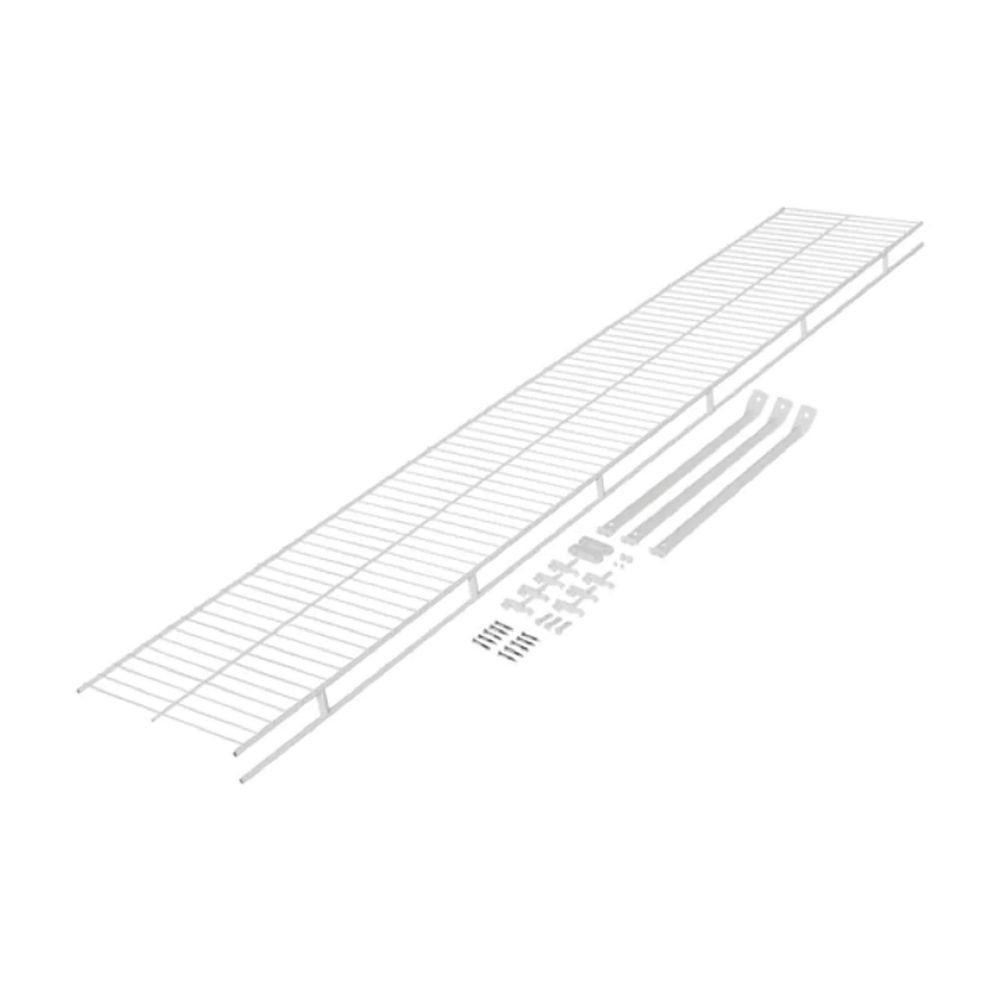 Rubbermaid Wardrobe 12-inch x 4 ft. Shelf with Installation Hardware