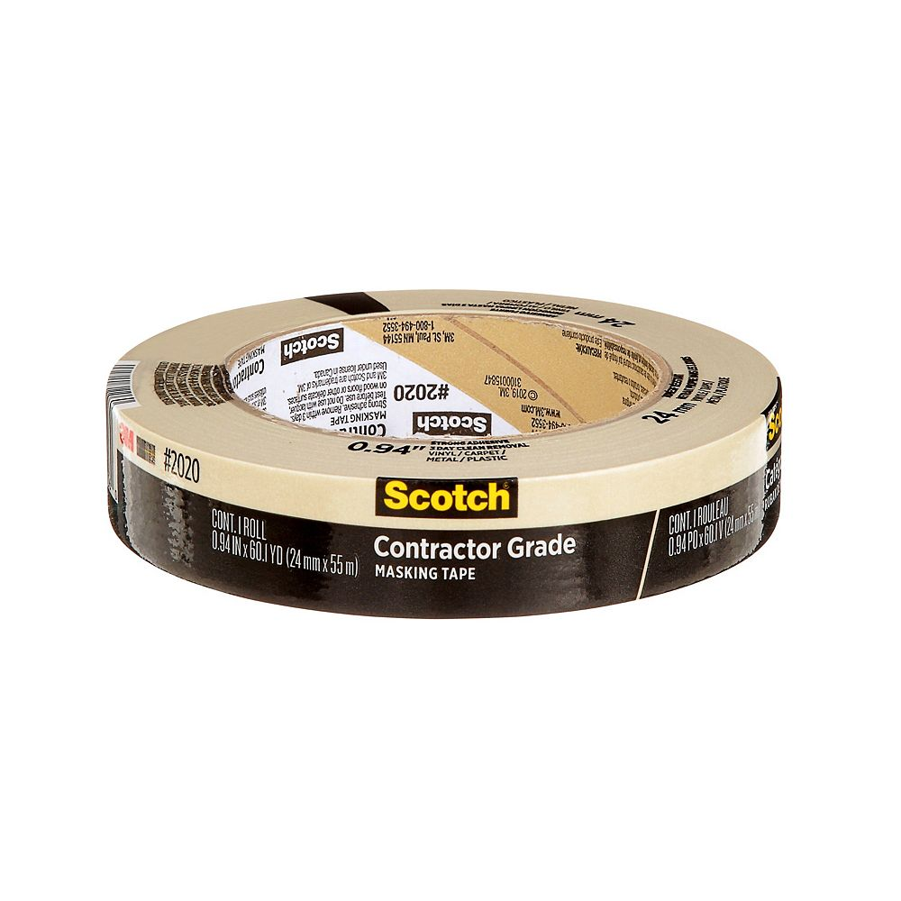 Scotch Contractor Grade Masking Tape, 2020-24AP, 0.94 in x 60.1 yd (24 mm x 55 m)
