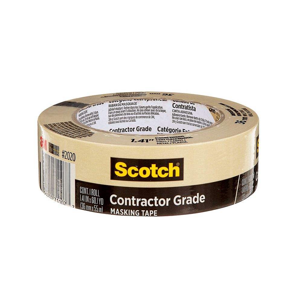 Scotch Contractor Grade Masking Tape, 2020-36AP, 1.41 in x 60.1 yd (36 mm x 55 m)