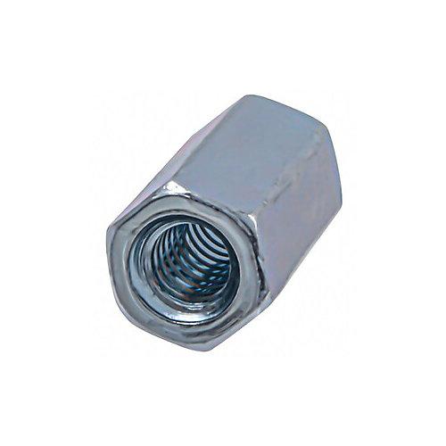 Écrou d'accouplement hexagonal 1/4-inch-20 entièrement fileté - zingué - UNC