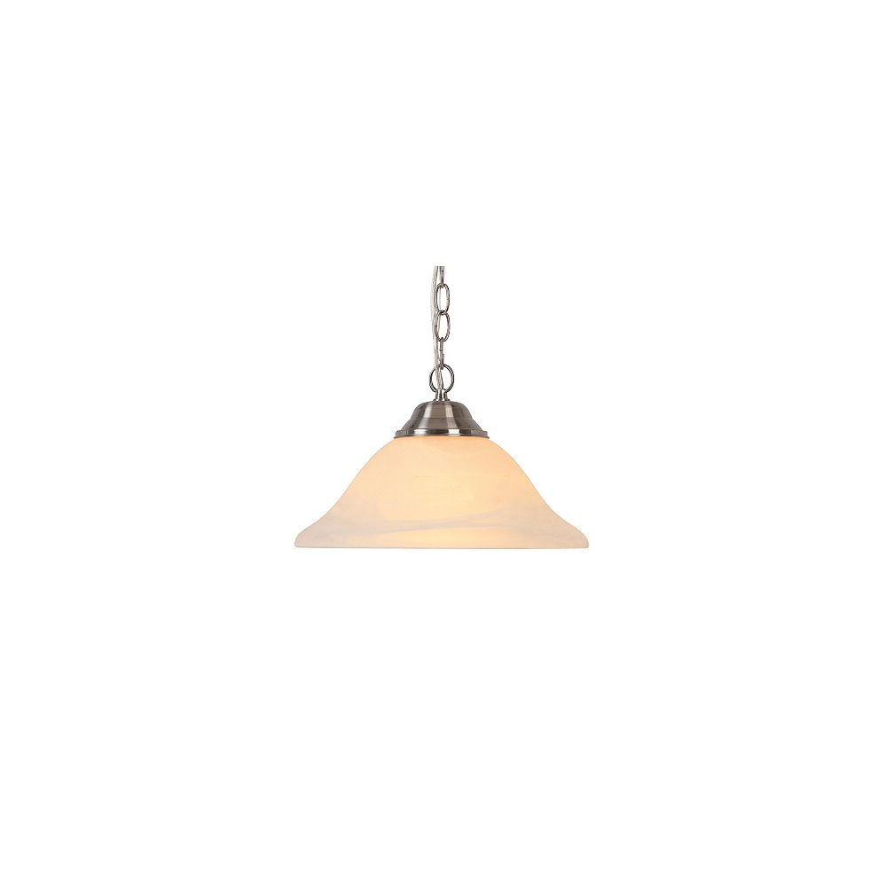 Hampton Bay 1 Light 100w Brushed Nickel Pendant With Frosted Glass Shade The Home Depot Canada