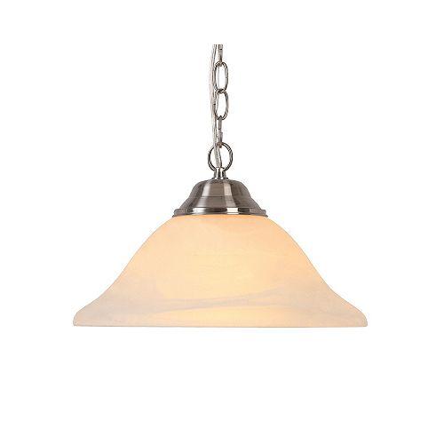 Luminaire suspendu, nickel brossé, une ampoule, 100W, diffuseur en verre givré
