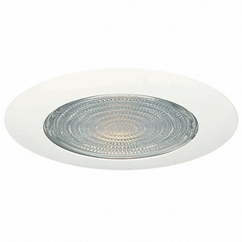 6-inch Shower Trim Light Fixture in White with Fresnel Glass and Heat Shield
