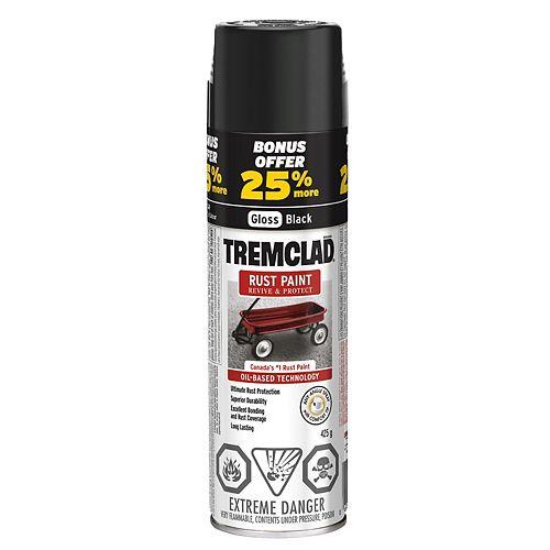 Oil-Based Rust Paint In Gloss Black, 425 G Aerosol Spray Paint