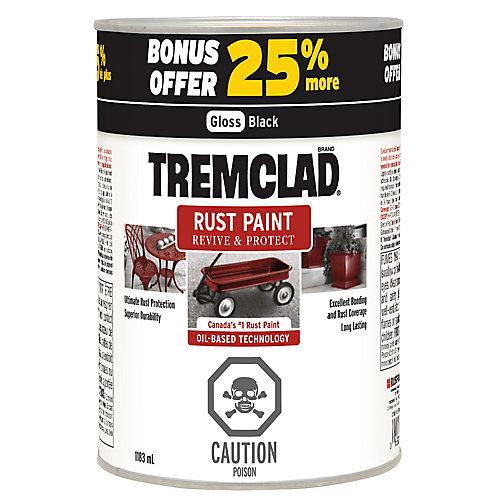Tremclad Rust Paint 25%  Bonus 1183 ML - Gloss Black