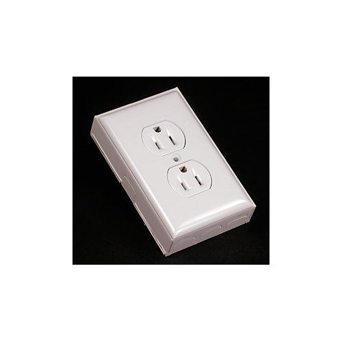 Kit de prise de courant double/plaque/boîte blanc.