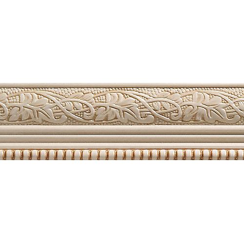 Moulure décorative en bois blanc dur, gaufrée en feuilles et billes 1/2 po X 2-1/4 po - prix par pièce 8 pied