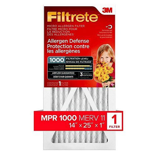 Filtrete Filters 14-pouce x 25-pouce x 1-pouce Filtre micro MPR 1000 «Protection contre les allergènes» Filtrete(MC)