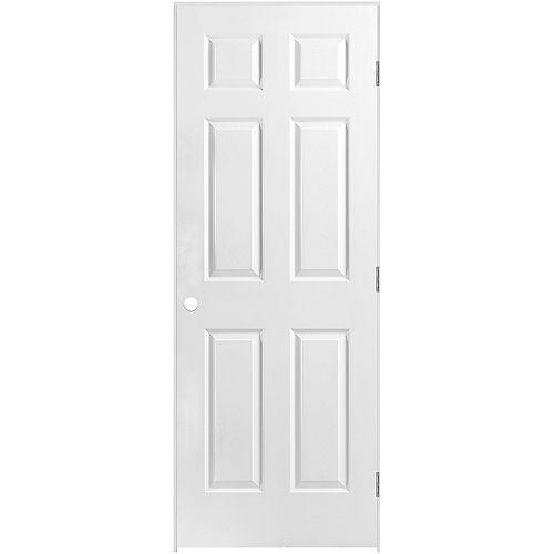 Masonite 24-inch x 80-inch Lefthand 6-Panel Textured Prehung Interior Door