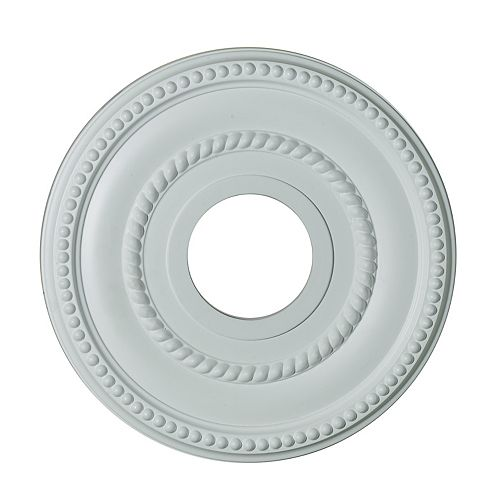 Hampton Bay 12-inch Medallion Fixture Accent with Rope and Bead Pattern in Matte White Finish