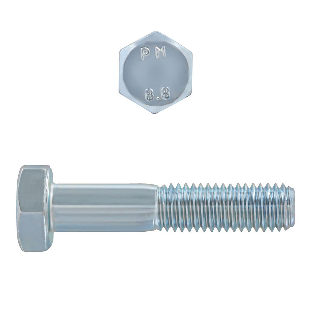 Paulin M10-1.50 x 50mm Class 8.8 Metric Hex Cap Screw - DIN 931 - Zinc Plated