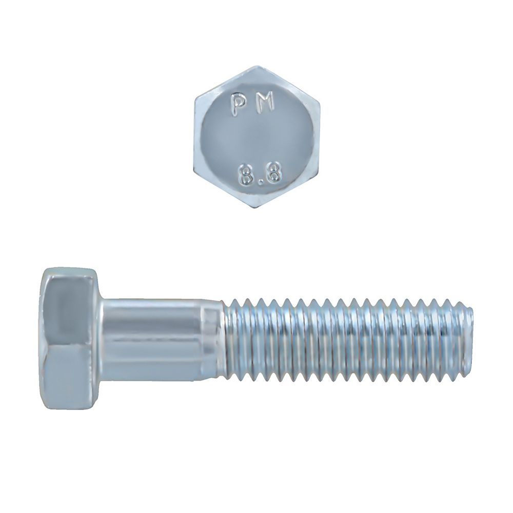 Paulin M8-1.25 x 35mm Class 8.8 Metric Hex Cap Screw - DIN 931 - Zinc Plated