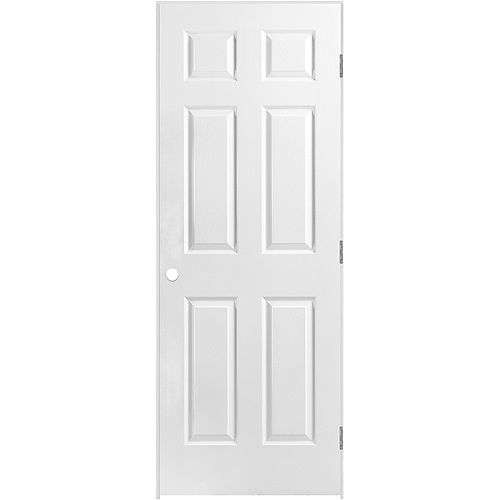 30-inch x 80-inch Prehung Right-Hand 6-Panel Textured Interior Door