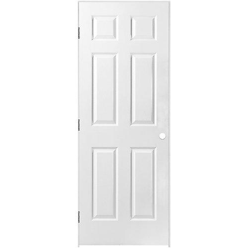 30-inch x 80-inch Prehung Right-Hand 6-Panel Textured Interior Door