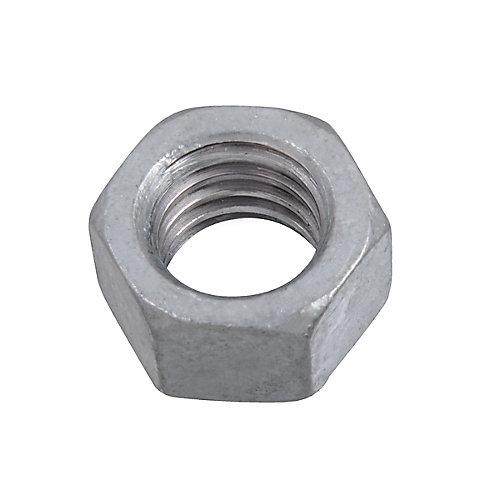 Écrou hexagonal fini 3/8 po-16 de grade 2 surdimensionné - Galvanisé par immersion à chaud - UNC