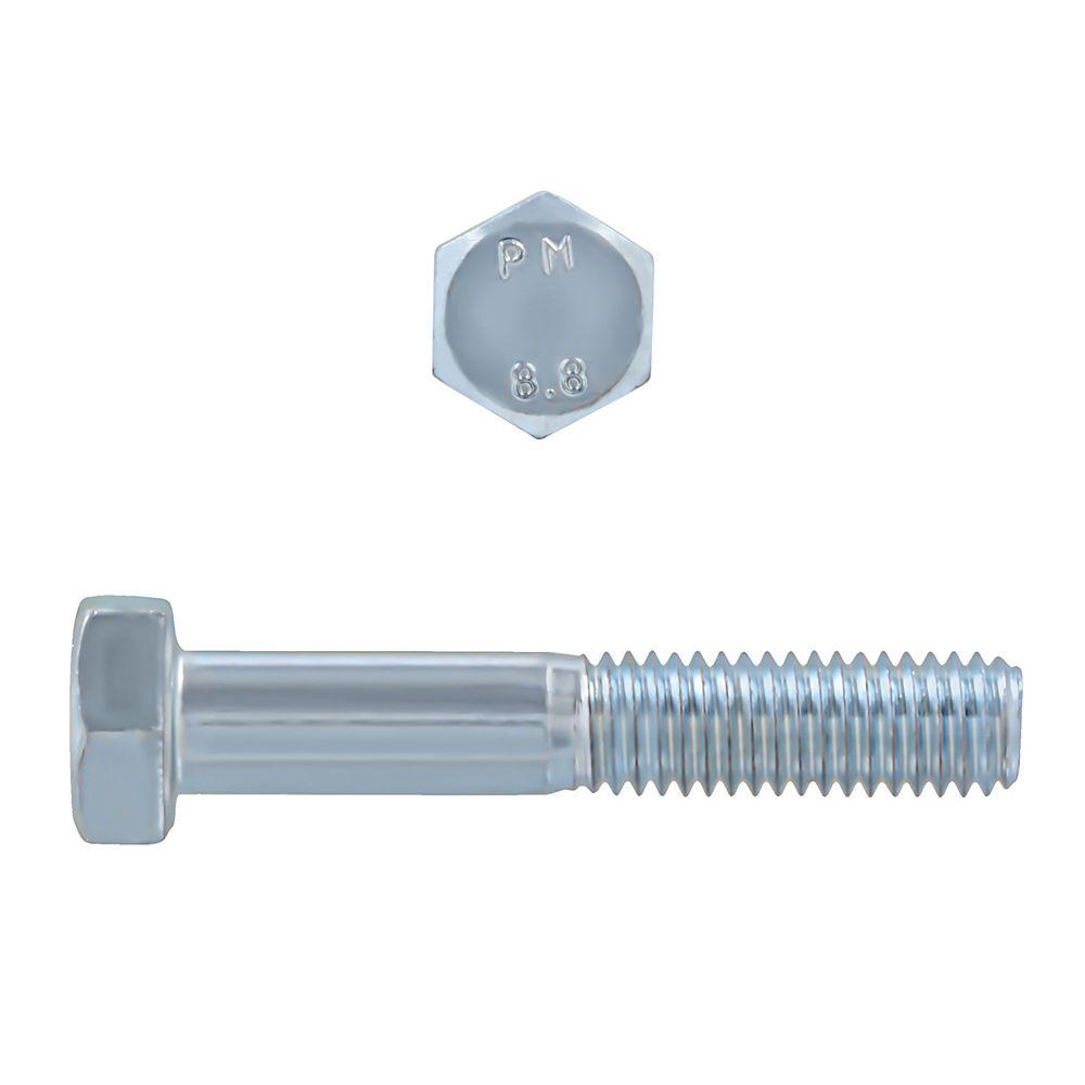 Paulin M8-1.25 x 45mm Class 8.8 Metric Hex Cap Screw - DIN 931 - Zinc Plated