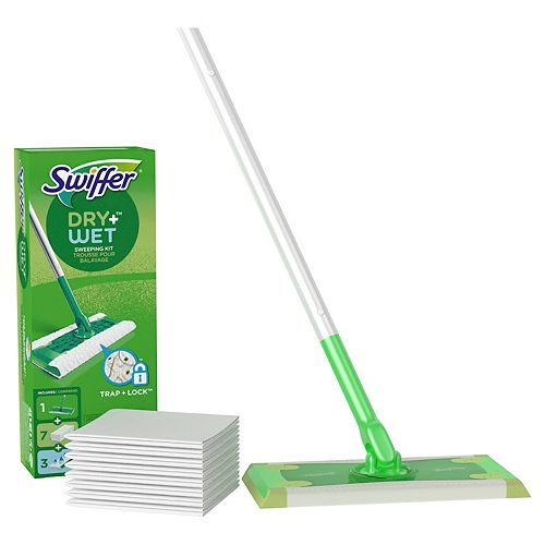 Swiffer Sweeper Dry + Wet All Purpose Floor Mopping and Cleaning Starter Kit with Heavy Duty Cloths, Includes: 1 Mop, 10 Refills