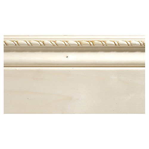 Ornamental Mouldings White Hardwood Rope Baseboard Moulding - 3/8 x 4 x 96 Inches
