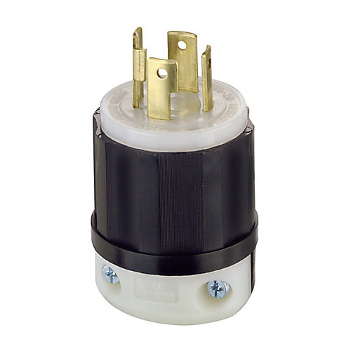30 Amp Black And White Nylon Body Locking Plug 125/250V 3P4W