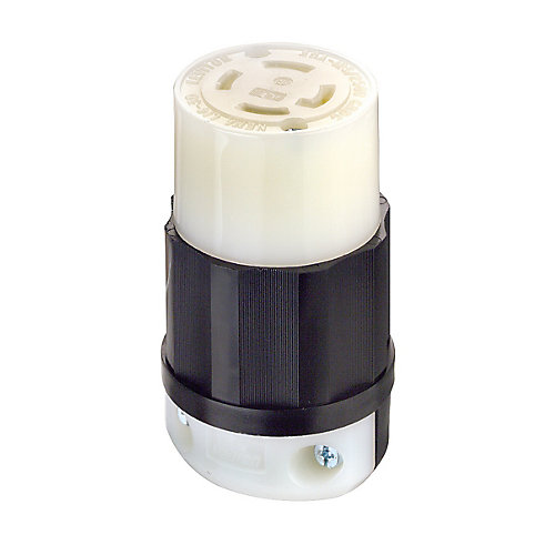 30 Amp Locking Connector, 125/250V 3P4W, Black And White