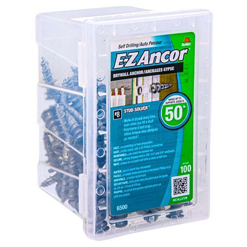 E-Z Ancor® #Ancre de cloison sèche E-Z Ancor(R) en zinc - usage moyen - 100 pcs