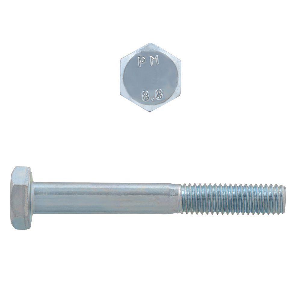 Paulin M6-1.00 x 50mm Class 8.8 Metric Hex Cap Screw - DIN 931 - Zinc Plated