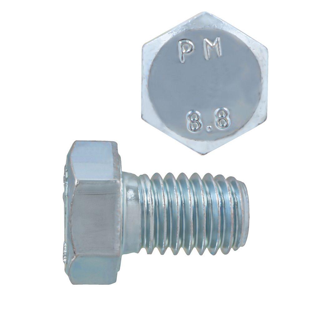 Paulin M8-1.25 x 12mm Class 8.8 Metric Hex Cap Screw - DIN 933 - Zinc Plated